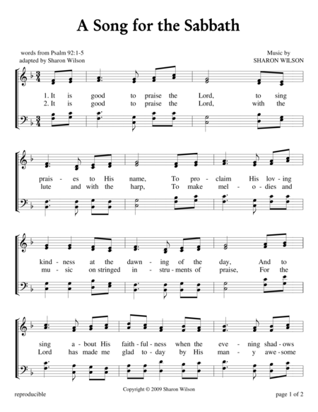 A Song for the Sabbath - Psalm 92
