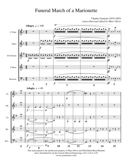 Funeral March of a Marionette, transcribed for Woodwind Quintet