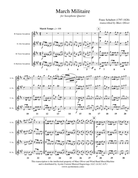 Marche Militaire, op. 51, No. 1 for Saxophone Quartet