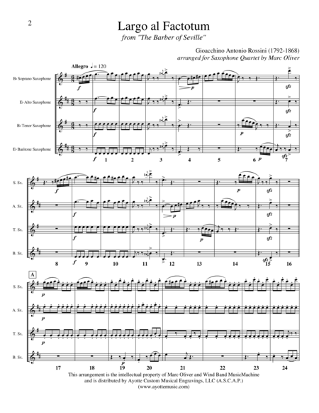 Largo al Factotum (from the Barber of Seville), transcribed for Saxophone Quartet