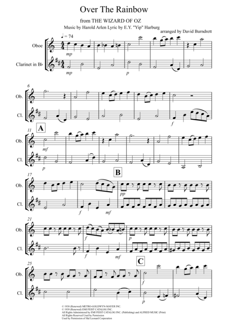 Over The Rainbow (from The Wizard Of Oz) for Oboe and Clarinet Duet