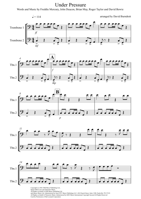 Under Pressure for Trombone Duet