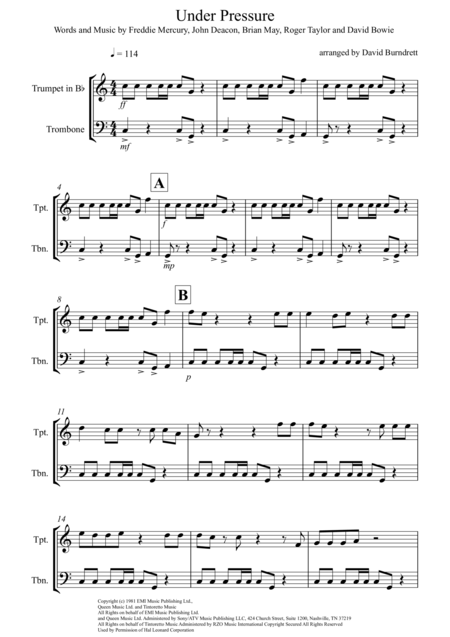 Under Pressure for Trumpet and Trombone Duet