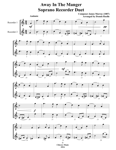 Away in the Manger / It Came Upon a Midnight Clear - Recorder Duet - Intermediate (Key of C)