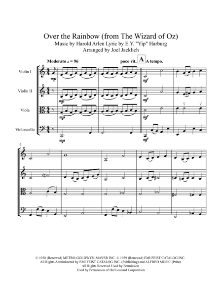 Over the Rainbow (from The Wizard of Oz) for String Quartet