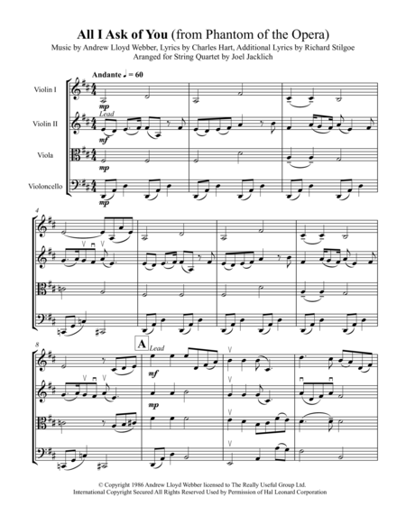 All I Ask of You (from Phantom of the Opera) for String Quartet