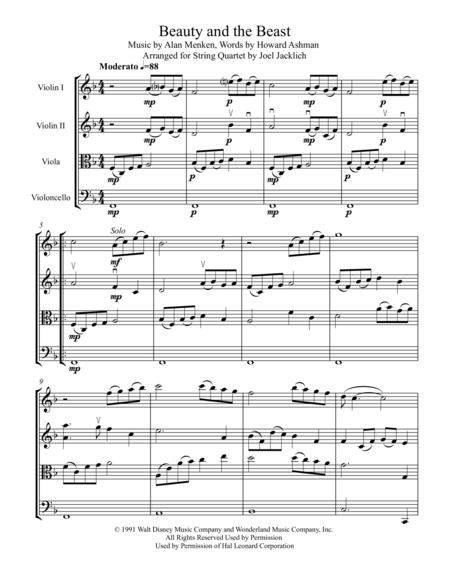 Beauty and the Beast (for String Quartet)