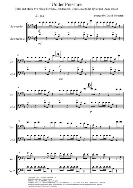 Under Pressure for Cello Duet