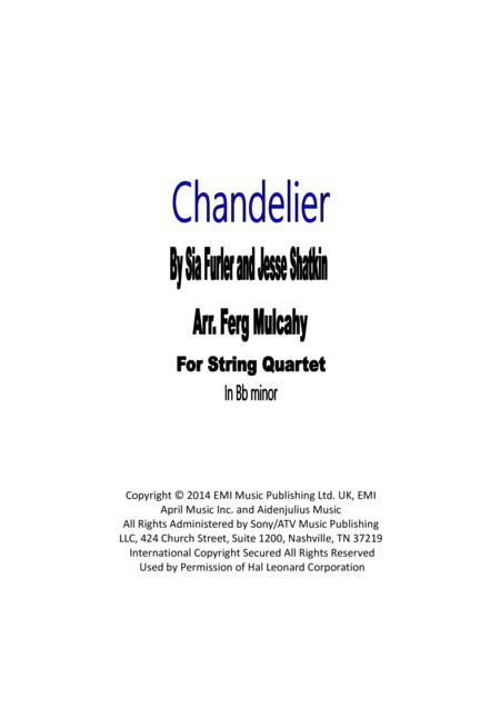 Chandelier by Sia for String Quartet in Bb minor