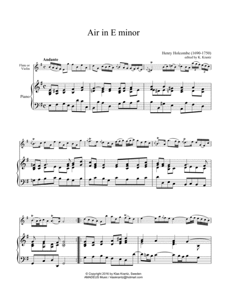Air in E Minor for flute/ violin and piano (cello part ad lib.)
