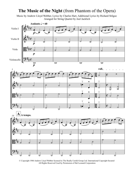 The Music of the Night (from Phantom of the Opera) for String Quartet
