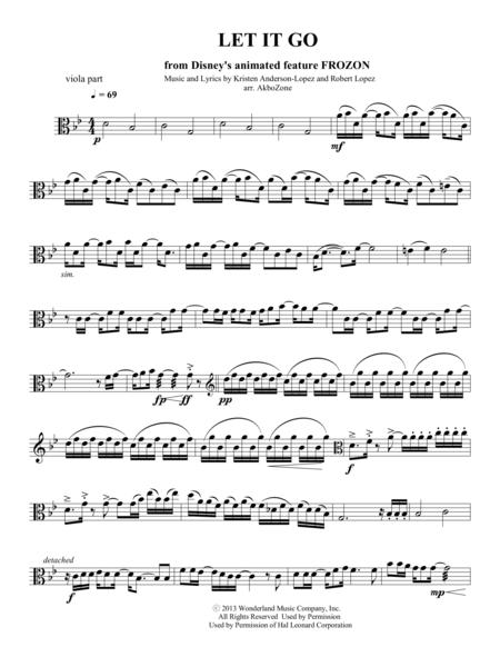Let It Go for string quartet viola part