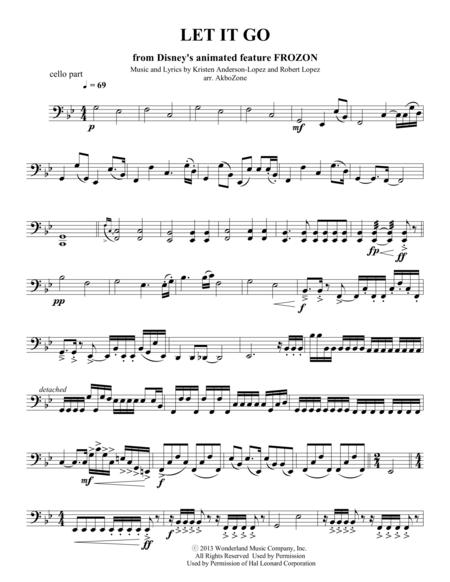 Let It Go for string quartet cello part