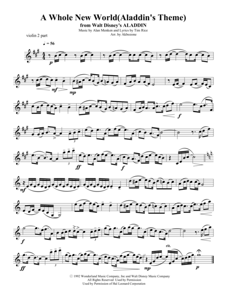 A Whole New World for string quartet violin 2 part