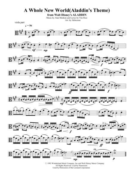 A Whole New World for string quartet viola part
