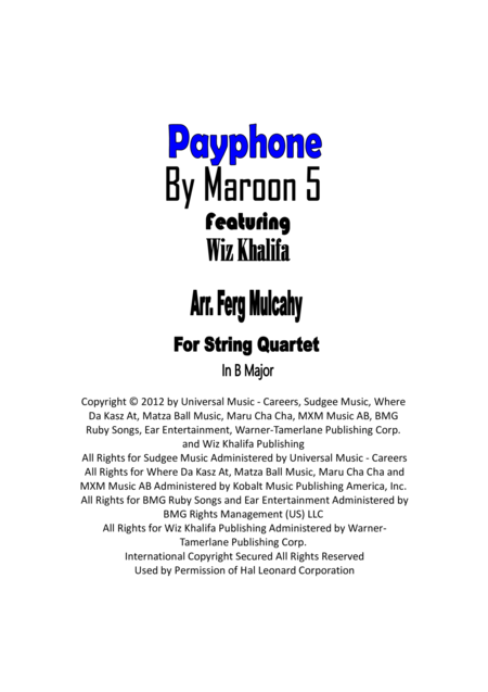 Payphone by Maroon 5 ft Wiz Khalifa for String Quartet in B major