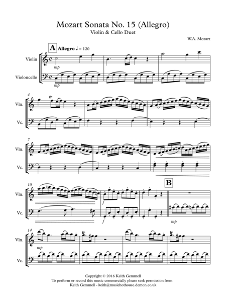 Mozart Sonata No.15 (Allegro): Violin & Cello Duet