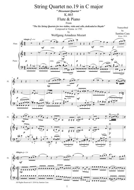 Mozart - Dissonant Quartet in C major No.19 - Flute and Piano