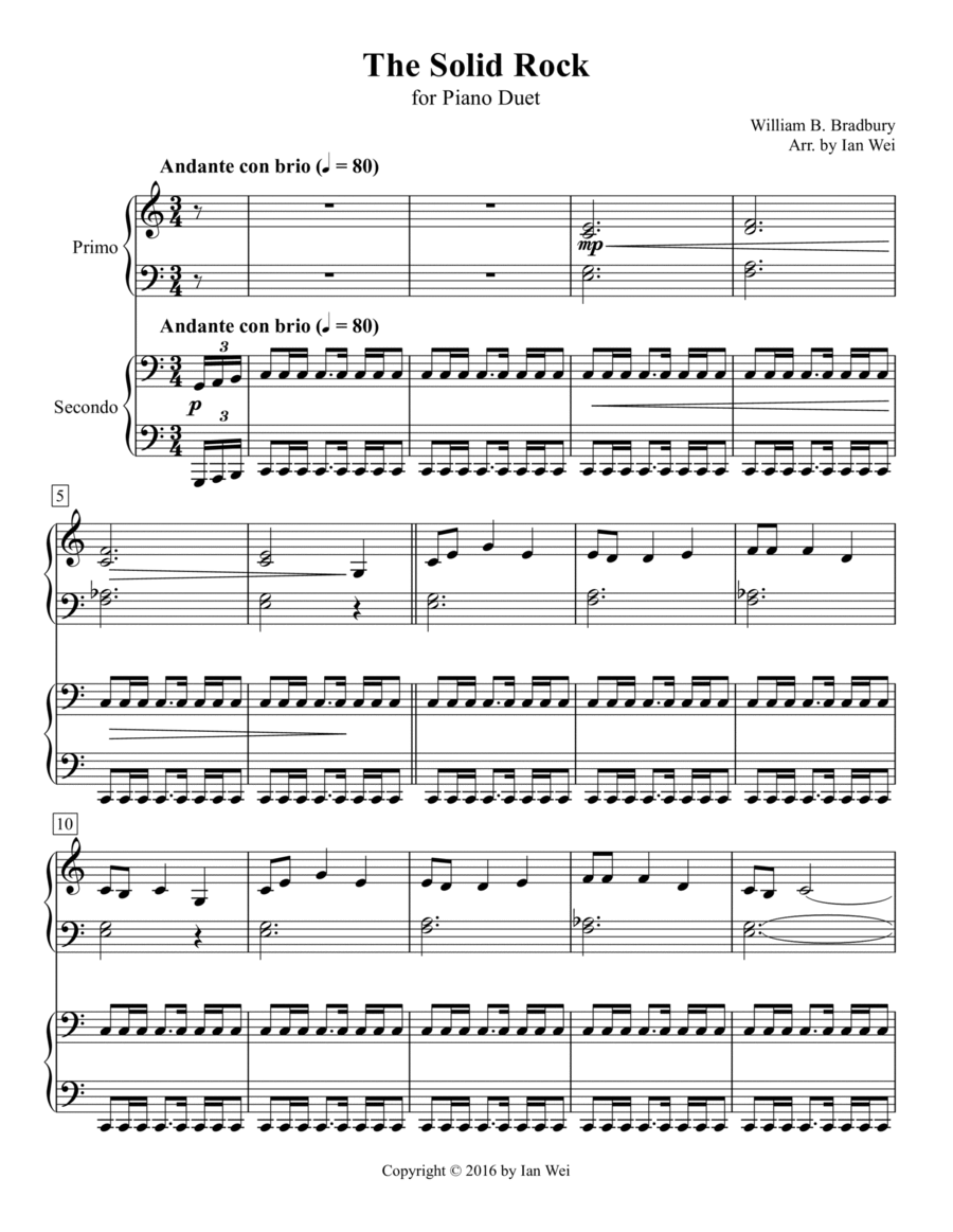The Solid Rock for Piano Duet