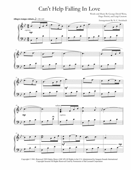 can t help falling in love sheet music Print and download can't help falling in love sheet music by elvis presley  sheet music arranged for piano/vocal/guitar in f major (transposable.