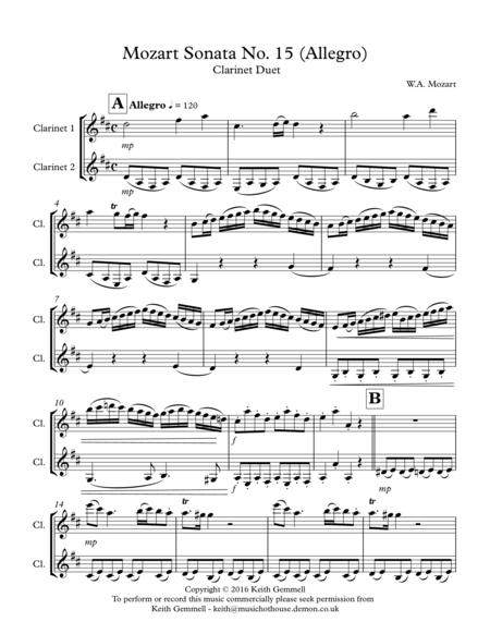 Mozart Sonata No.15 (Allegro): Clarinet Duet