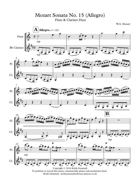 Mozart Sonata No.15 (Allegro): Flute & Clarinet Duet