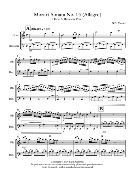 Mozart Sonata No.15 (Allegro): Oboe & Bassoon Duet