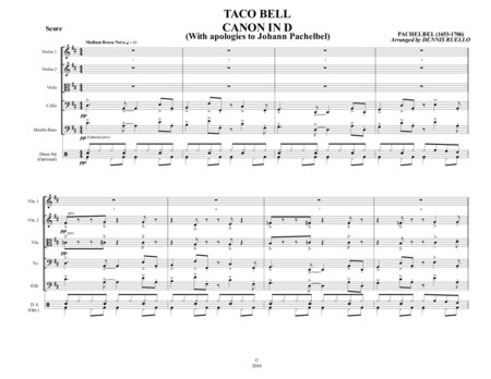 TACO BELL CANON IN D - String Orchestra - Advanced / Intermediate