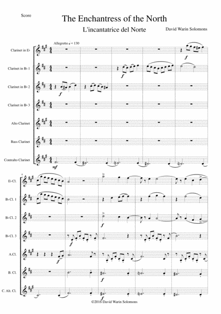 The Enchantress of the North (L'Incantatrice del Norte) for clarinet choir