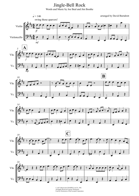 Violin violin tabs jingle bells : Download Jingle-Bell Rock For Violin And Cello Duet Sheet Music By ...