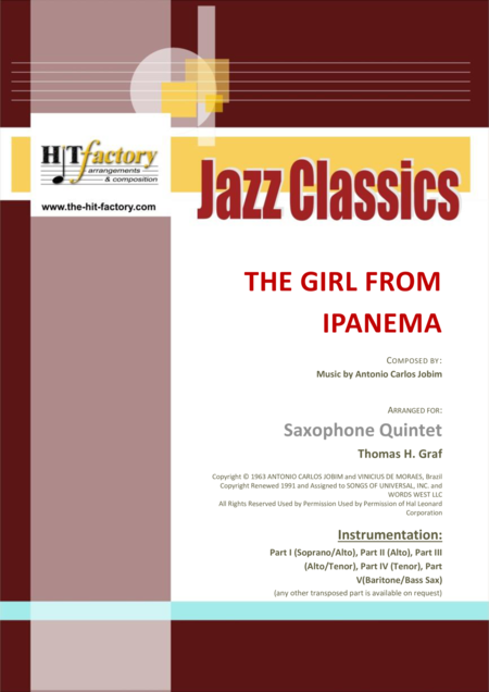The Girl From Ipanema (Garota de Ipanema) - Jobim - Bossa Nova - Saxophone Quintet