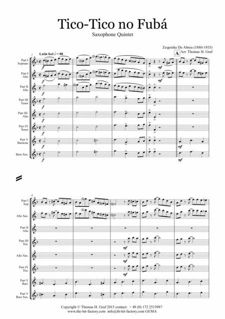 Tico-Tico no Fubá - Choro - Saxophone Quintet
