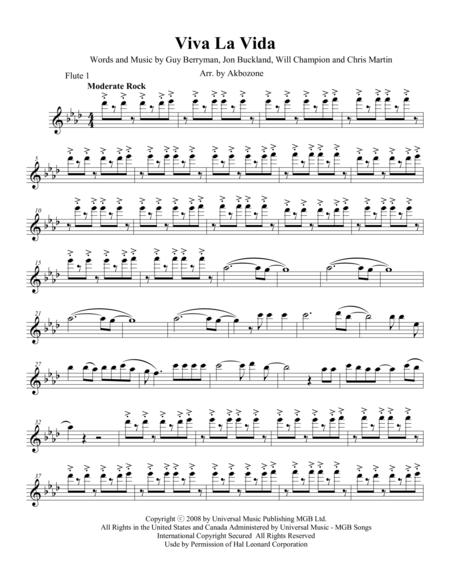 Viva La Vida - Flute 1 part