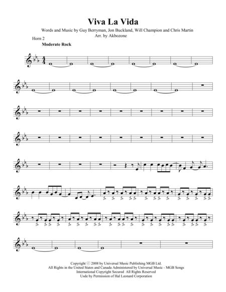 Viva La Vida - Horn 2 part