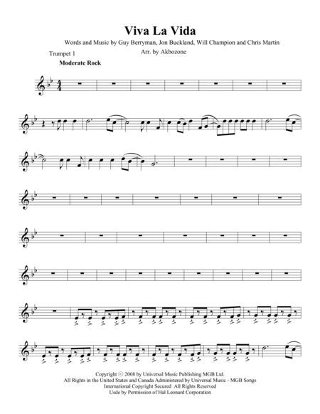 Viva La Vida - Trumpet 1 part