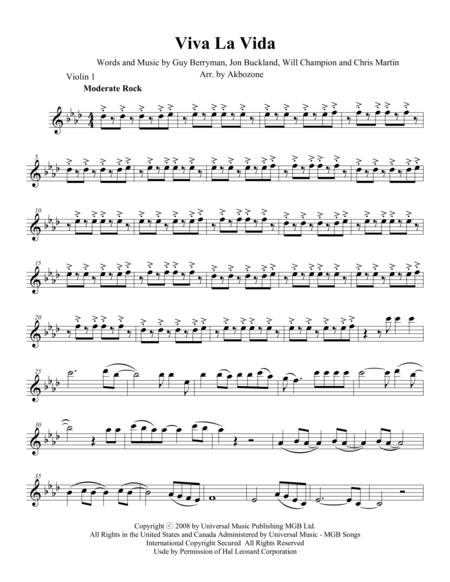 Viva La Vida - Violin 1 part