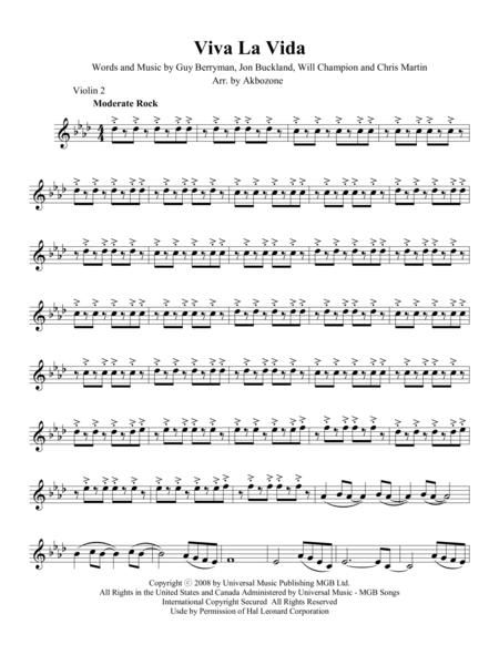 Viva La Vida - Violin 2 part