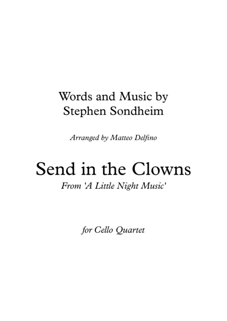 Send in the Clowns (Cello Quartet)