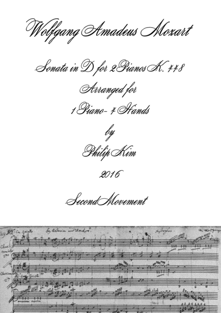 Mozart Sonata in D, K. 448 for 2 Pianos (2nd movement) Arranged for 1 piano-4 hands by Philip Kim