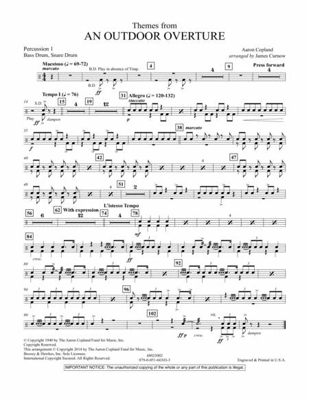 Themes from An Outdoor Overture - Percussion 1
