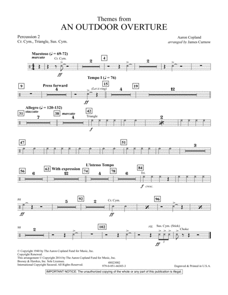 Themes from An Outdoor Overture - Percussion 2