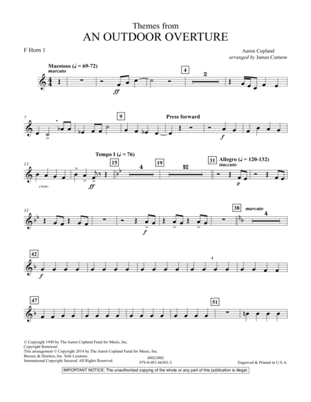 Themes from An Outdoor Overture - F Horn 1