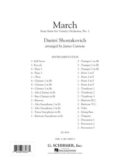 March from Suite for Variety Orchestra, No. 1 - Conductor Score (Full Score)
