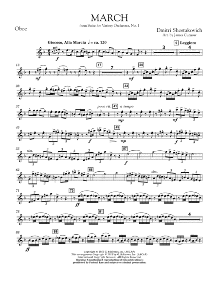 March from Suite for Variety Orchestra, No. 1 - Oboe