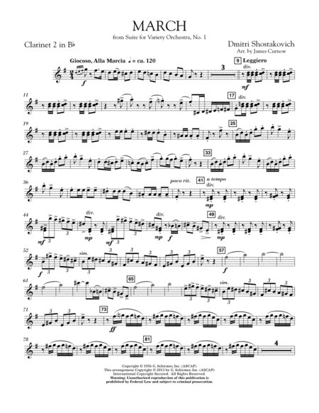 March from Suite for Variety Orchestra, No. 1 - Bb Clarinet 2