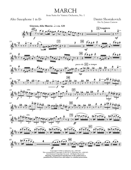 March from Suite for Variety Orchestra, No. 1 - Eb Alto Saxophone 1