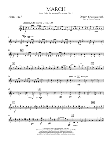 March from Suite for Variety Orchestra, No. 1 - F Horn 1