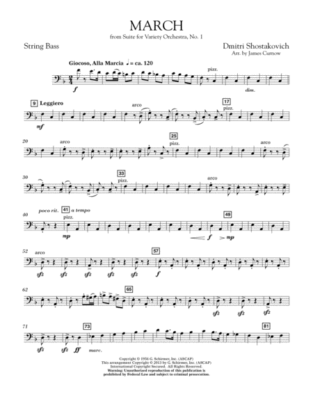 March from Suite for Variety Orchestra, No. 1 - String Bass
