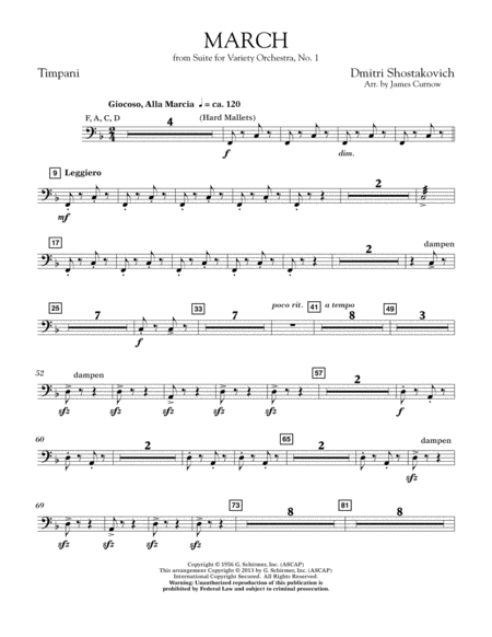 March from Suite for Variety Orchestra, No. 1 - Timpani