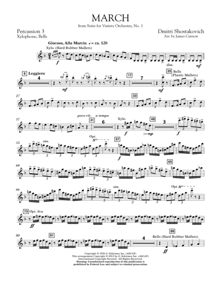 March from Suite for Variety Orchestra, No. 1 - Percussion 3
